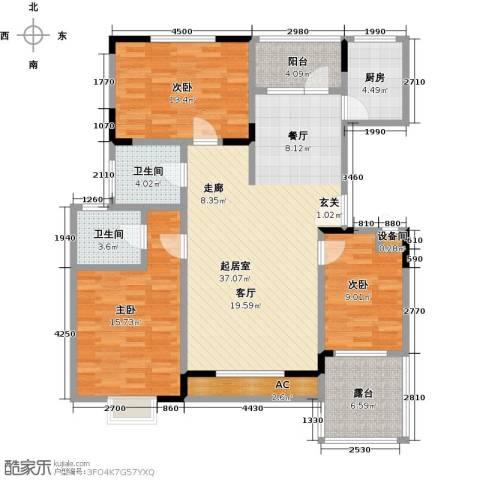 国际时代广场3室0厅2卫1厨143.00㎡户型图