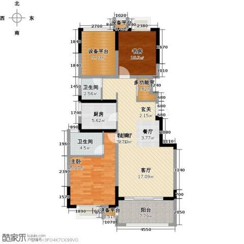 可逸兰亭2室1厅2卫1厨104.00㎡户型图
