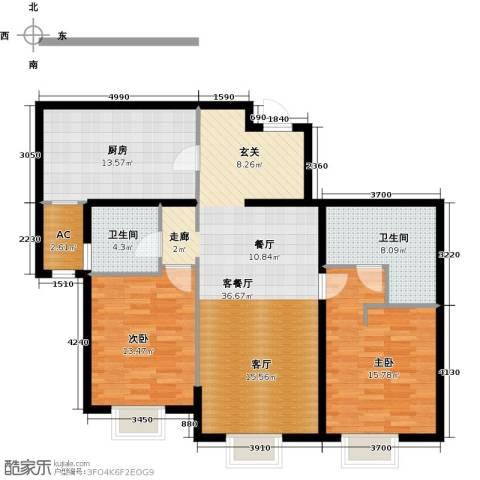 天津大都会2室1厅2卫1厨125.00㎡户型图
