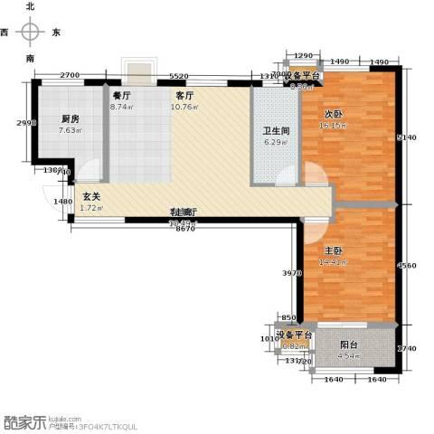 明湖・白鹭郡2室1厅1卫1厨93.00㎡户型图
