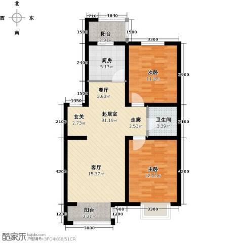 兴盛景悦蓝湾2室0厅1卫1厨94.00㎡户型图