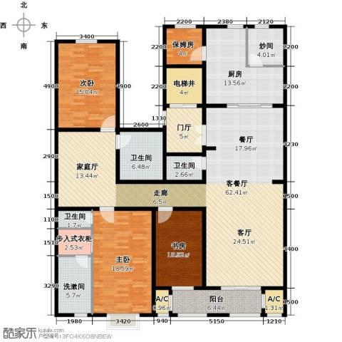 天房天和园3室1厅3卫1厨206.00㎡户型图