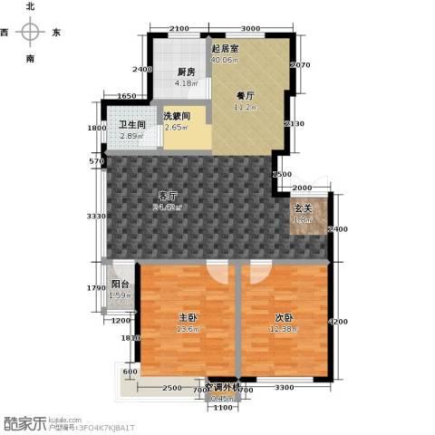 河海丽湾2室0厅1卫1厨98.00㎡户型图