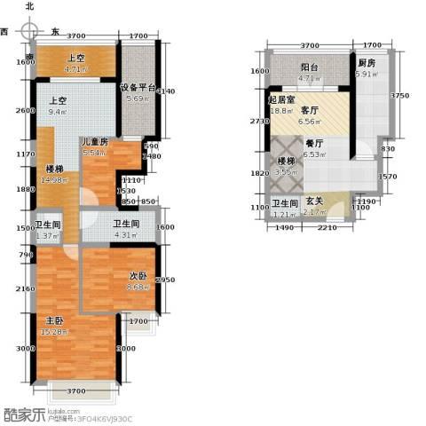 星耀五洲3室0厅3卫1厨107.00㎡户型图