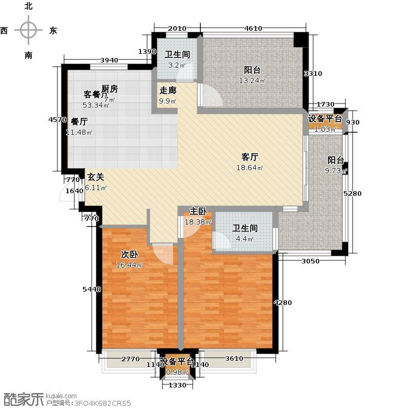 招商小石城136.00㎡B3/4户型 4#、6#、7#、8#户型2室2厅2卫