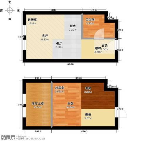 中海・御湖翰苑1卫0厨46.00㎡户型图