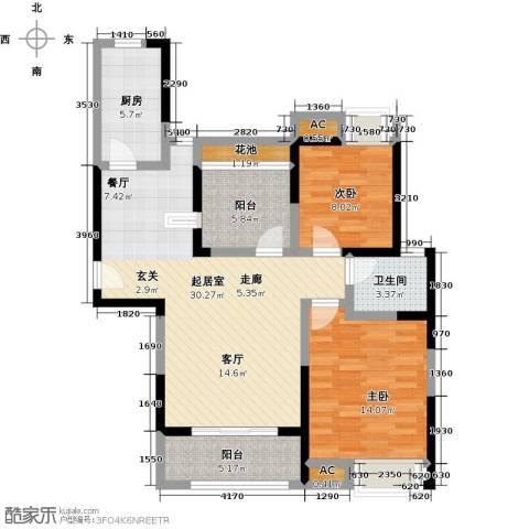 南山金城19582室0厅1卫1厨88.00㎡户型图
