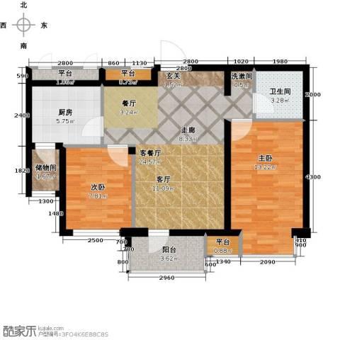 雯霆华苑2室1厅1卫1厨70.00㎡户型图
