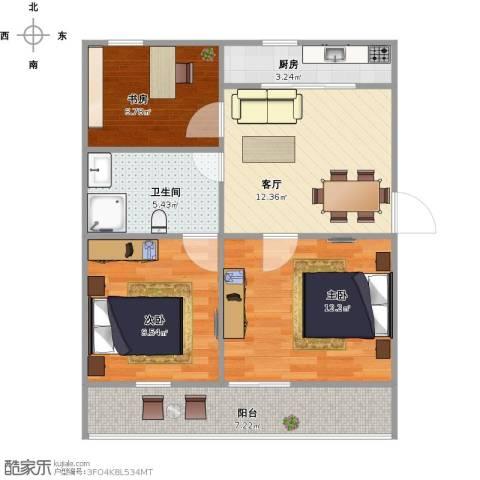 朝阳三村续建小区3室1厅1卫1厨78.00㎡户型图