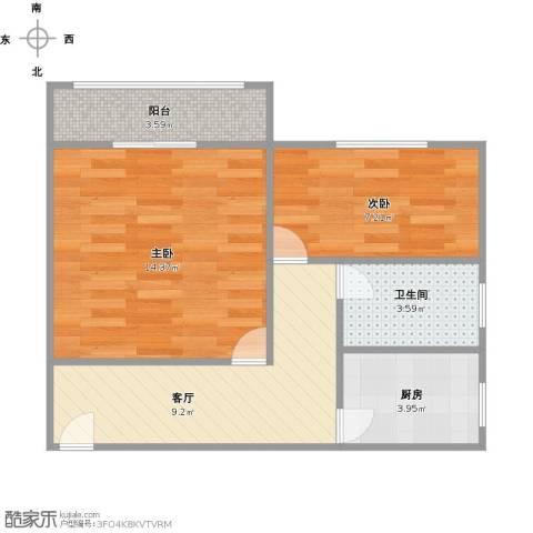 真光九街坊2室1厅1卫1厨58.00㎡户型图