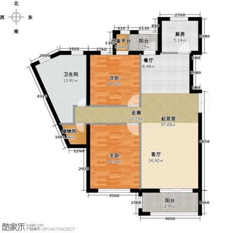 河海龙湾2室0厅1卫1厨108.00㎡户型图