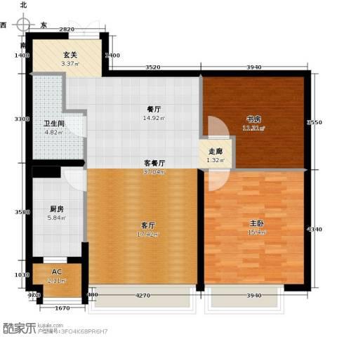 天津大都会2室1厅1卫1厨161.00㎡户型图