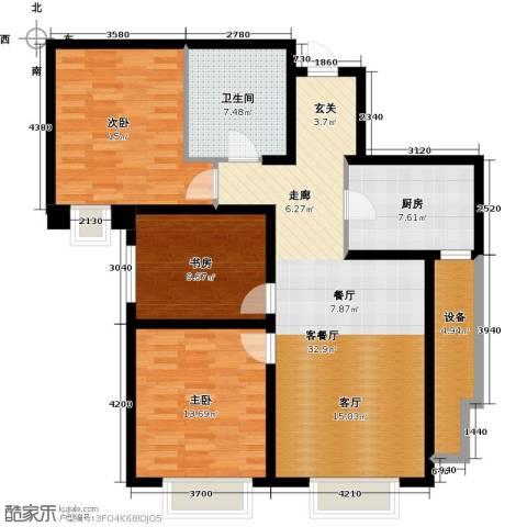 天津大都会3室1厅1卫1厨121.00㎡户型图