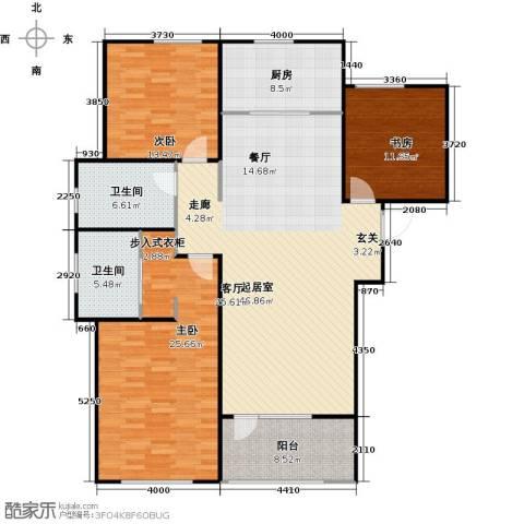 朗诗新北绿郡3室0厅2卫1厨135.00㎡户型图