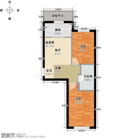 万锦民悦2室0厅1卫1厨60.00㎡户型图