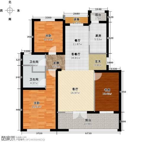 东丽1号3室1厅2卫1厨121.00㎡户型图