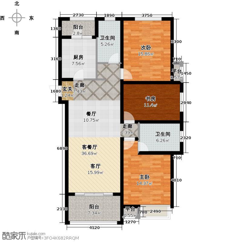 中海国际社区橙郡127.00㎡C5户型3室2厅2卫