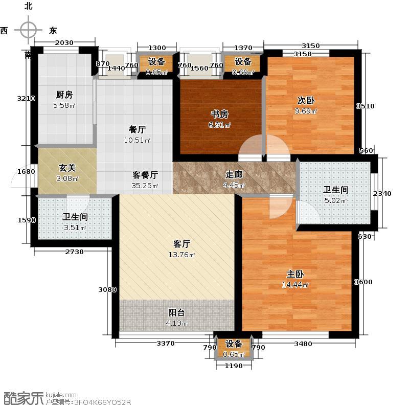 东丽1号112.72㎡F户型 三室两厅两卫户型