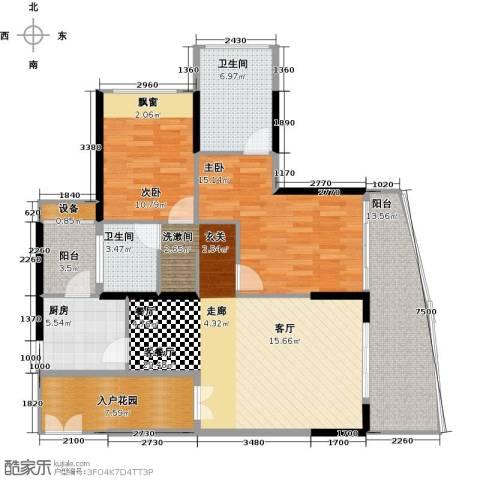 保利・半岛1号2室1厅2卫1厨117.00㎡户型图