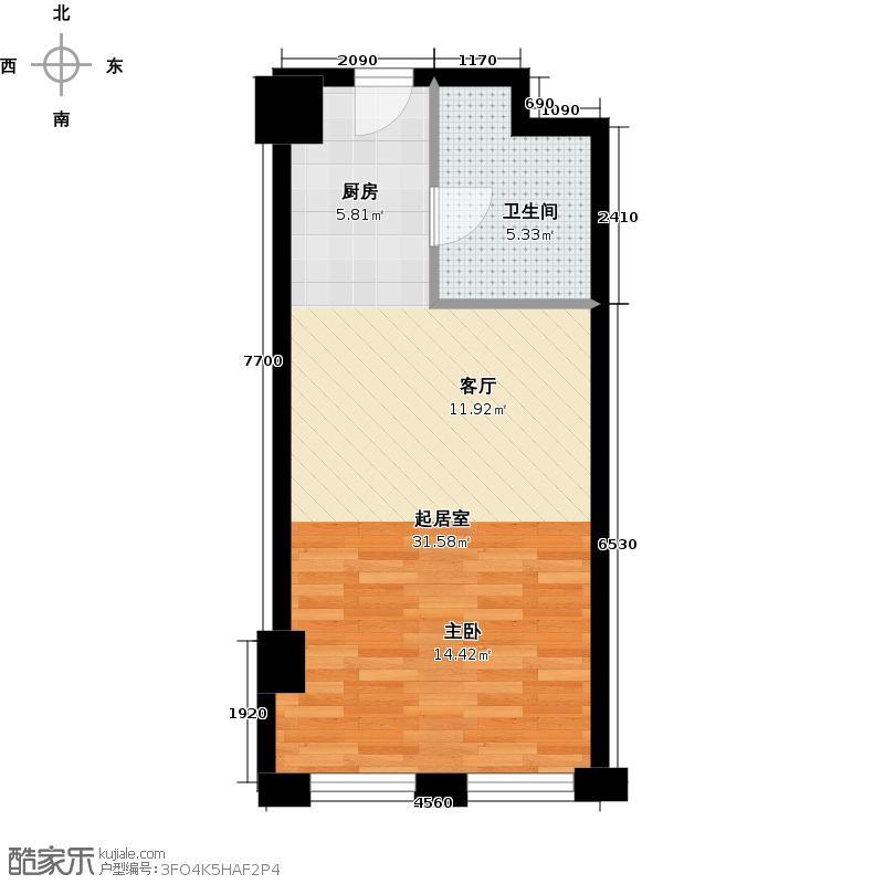 中国窗A1-11一室一厅一卫53.88平米户型