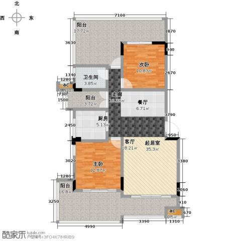 君山公馆2室0厅1卫1厨107.06㎡户型图