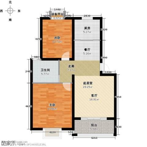 北苑馨居2室0厅1卫1厨86.00㎡户型图