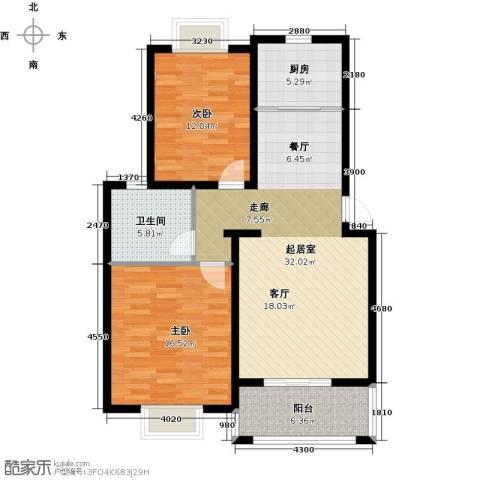 北苑馨居2室0厅1卫1厨88.00㎡户型图