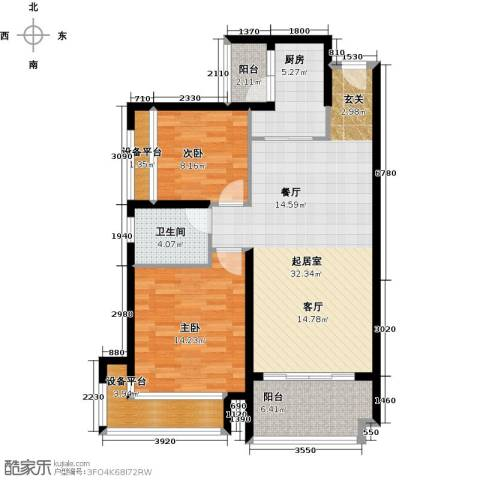 保利・观湖国际2室0厅1卫1厨90.00㎡户型图