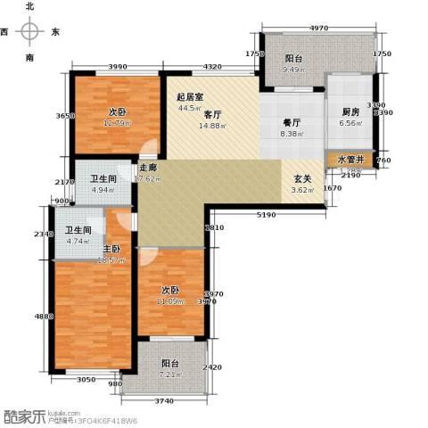 苏纶里3室0厅2卫1厨135.00㎡户型图