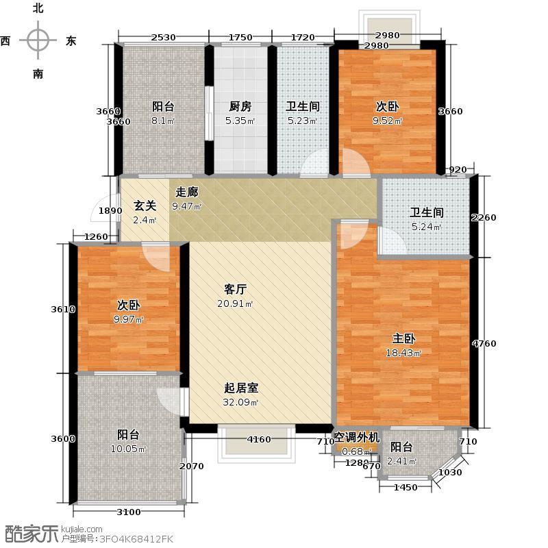 太湖富力都119.00㎡A3户型3室2厅2卫