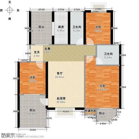 太湖富力都3室0厅2卫1厨119.00㎡户型图