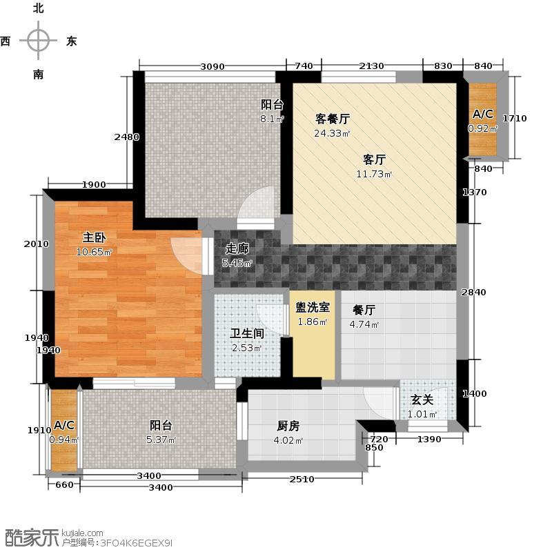青剑湖公馆67.00㎡D2户型1室1厅1卫X
