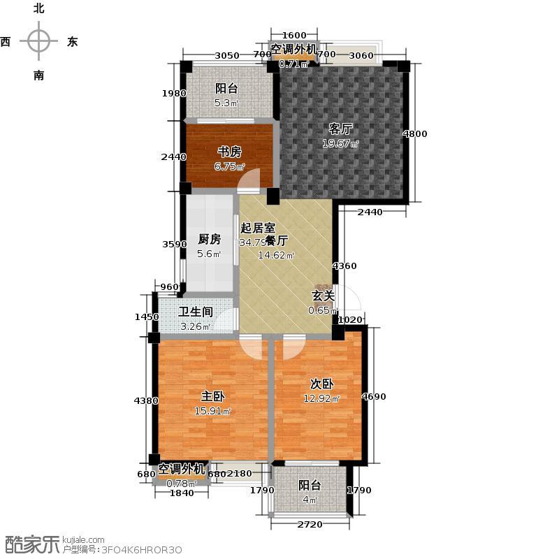 新能源阳光一品108.00㎡新能源阳光一品B1户型图108平米 三房两厅一卫户型3室2厅1卫
