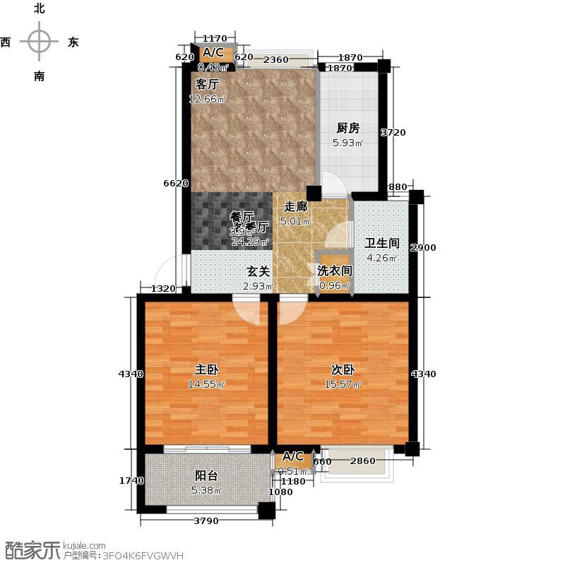 阳澄人家82.00㎡一期标准层户型2室2厅1卫X