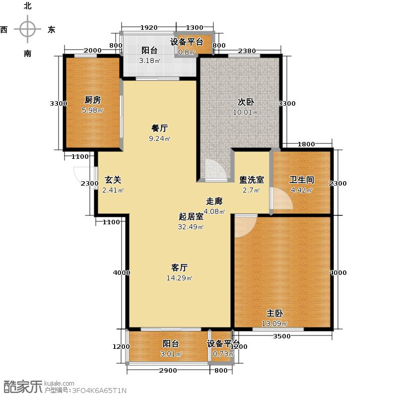 清谷两室两厅一卫户型