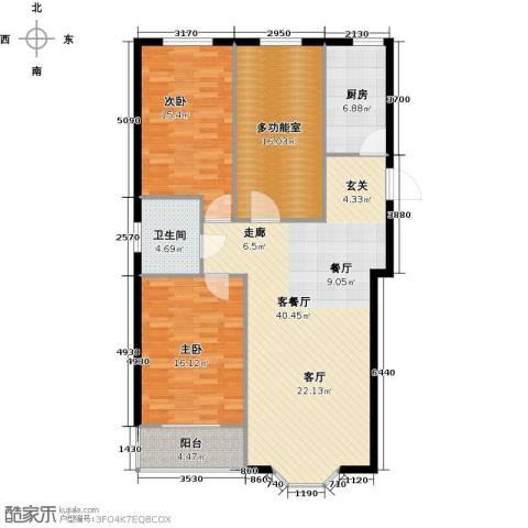 欧韵华庭2室1厅1卫1厨112.00㎡户型图