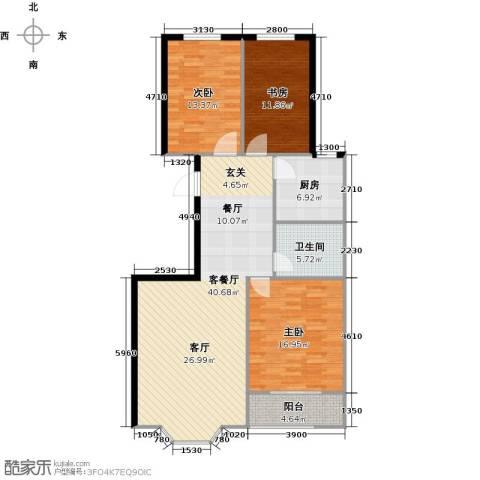 欧韵华庭3室1厅1卫1厨107.00㎡户型图
