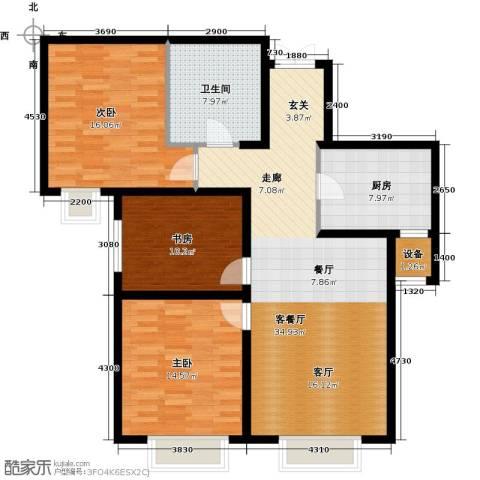 天津大都会3室1厅1卫1厨120.00㎡户型图