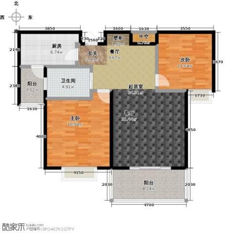 西城名邸2室0厅1卫1厨103.00㎡户型图