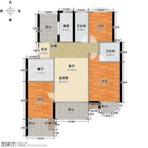 太湖富力都3室1厅2卫1厨123.00㎡户型图