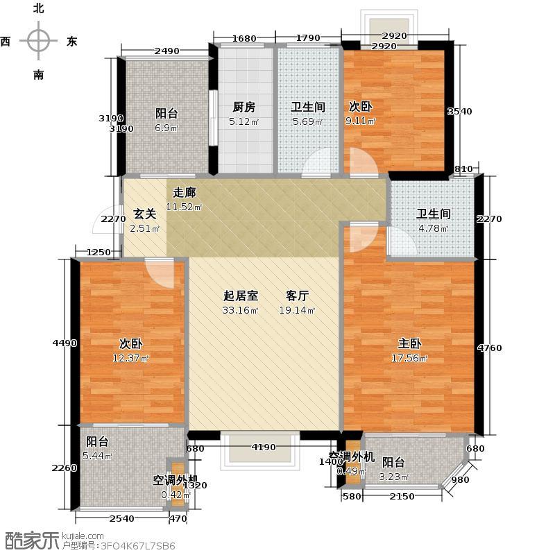 太湖富力都115.00㎡A4户型3室2厅2卫