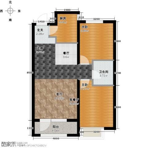 金地长青湾2室1厅1卫1厨89.00㎡户型图
