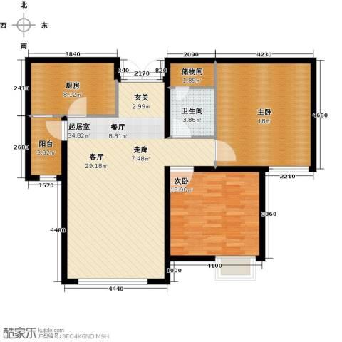 天津富力桃园2室0厅1卫1厨94.00㎡户型图