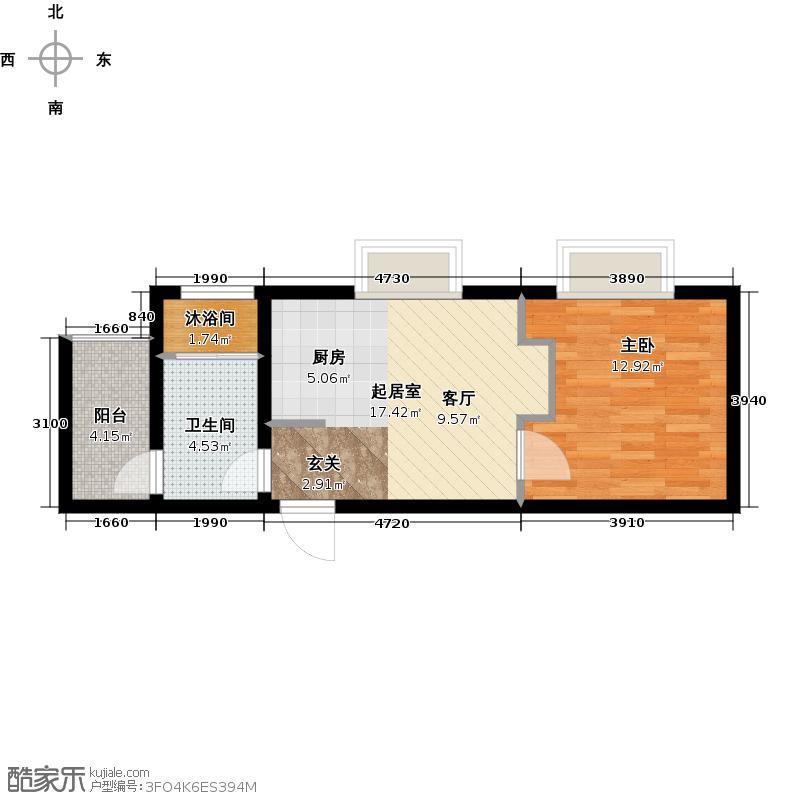 玩美天地47.00㎡3.7号楼三层B户型1室1厅1卫