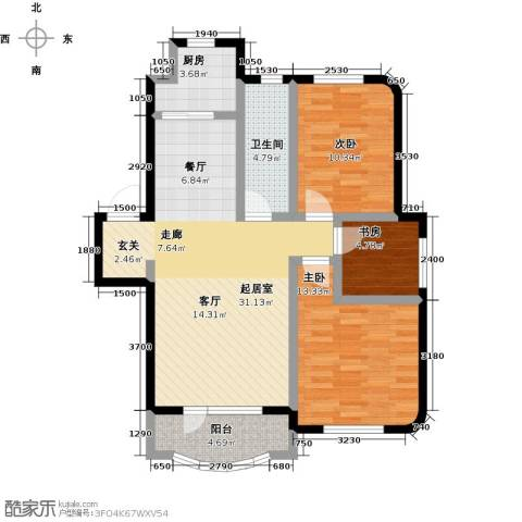 半岛印象3室0厅1卫1厨106.00㎡户型图