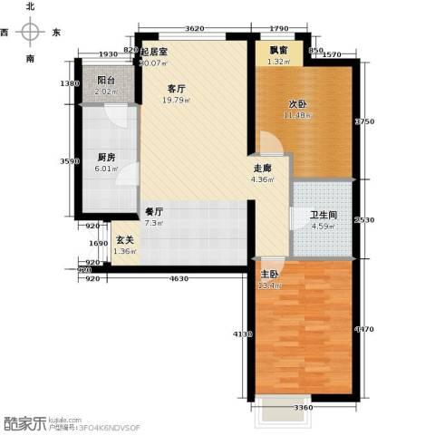 天津富力桃园2室0厅1卫1厨96.00㎡户型图