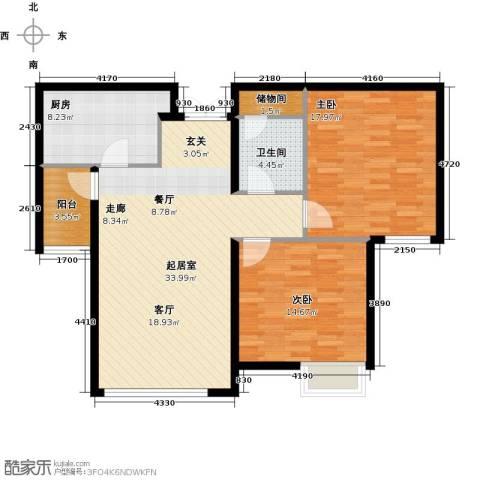天津富力桃园2室0厅1卫1厨93.00㎡户型图