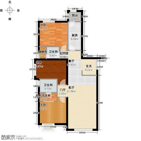 天津富力桃园3室0厅2卫1厨146.00㎡户型图