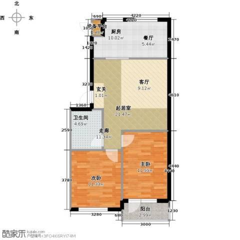 万锦民悦2室0厅1卫1厨70.00㎡户型图