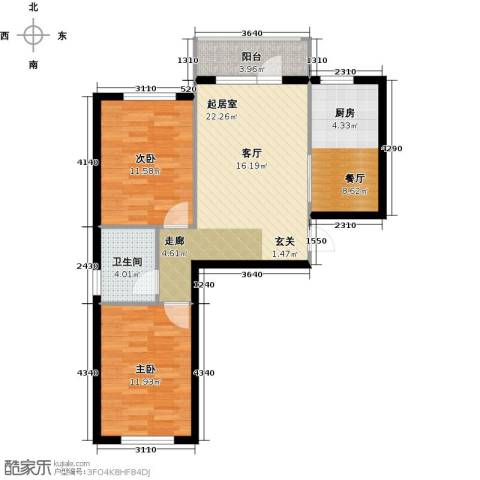 万锦民悦2室1厅1卫0厨80.00㎡户型图